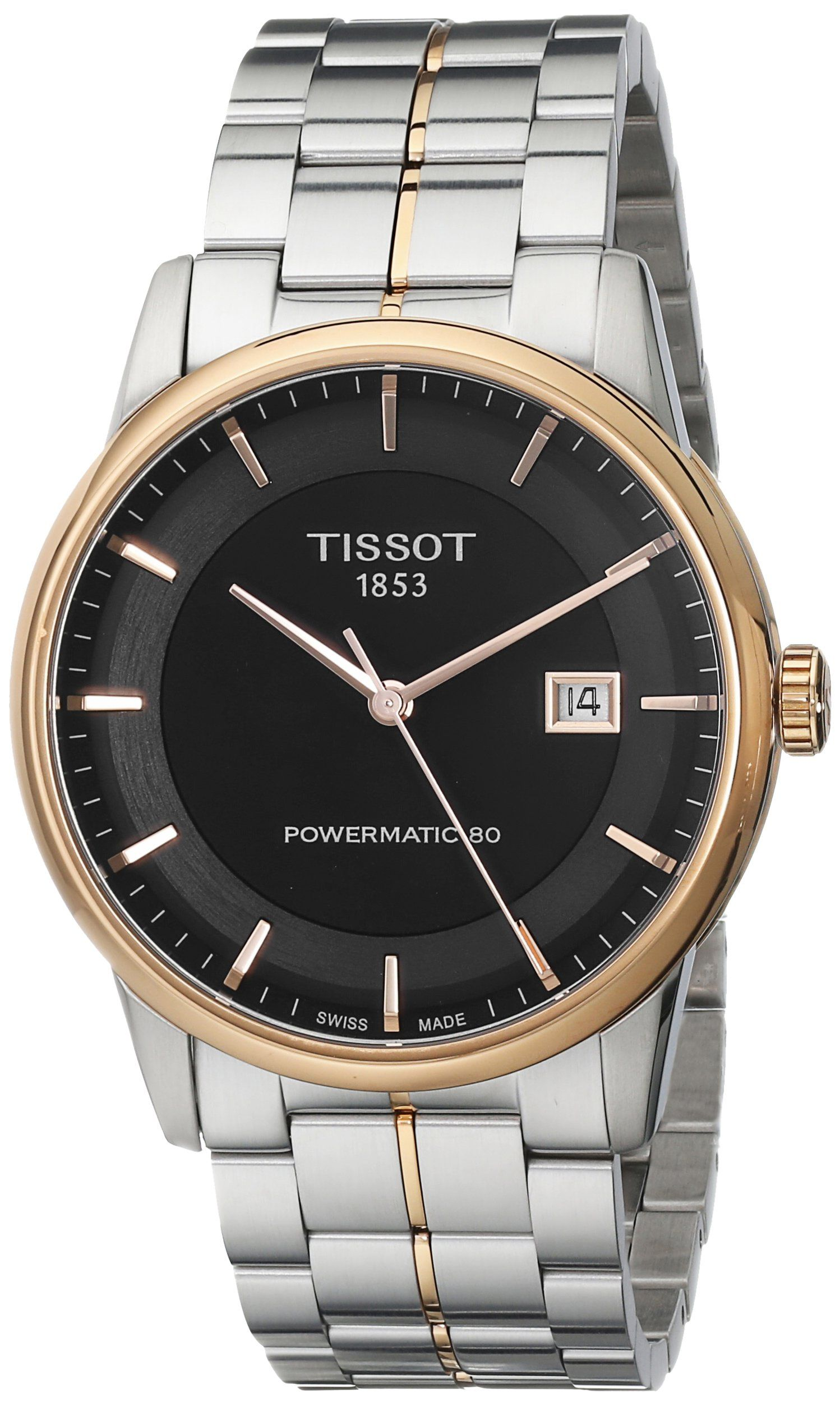 Tissot Men's TIST0864072205100 Powermatic 80 Analog Display Swiss Automatic Two Tone Watch. Stainless steel case with a stainless steel bracelet with rose gold-tone accents. Black dial with rose gold-tone hands and index hour markers. Swiss-automatic Movement. Case Diameter: 41mm. Water Resistant To 165 Feet.