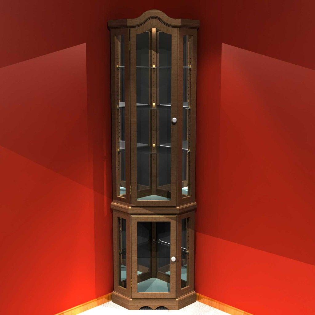Exciting Brown Wooden Frames Curio Corner Cabinet With Lighting Inside In Red Wall Painted