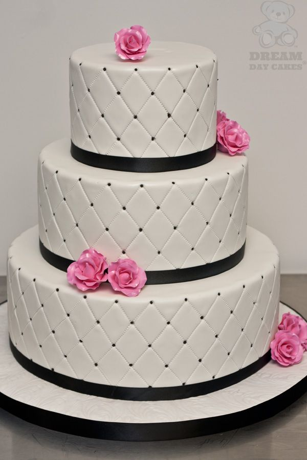 black wedding cake | Black, White, Hot Pink Wedding Cake ...