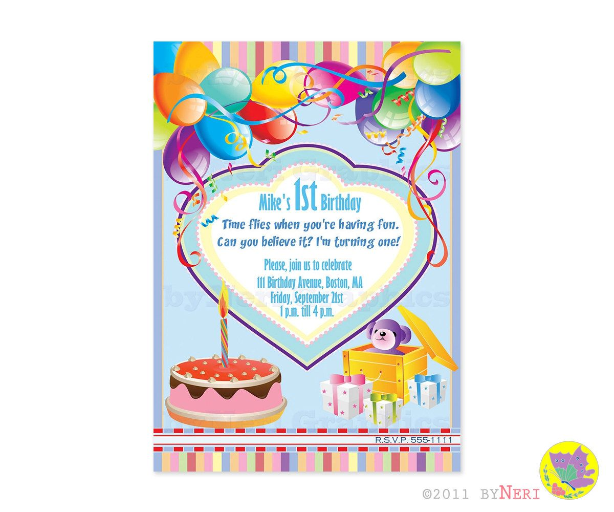 First birthday invitation card balloons cake invitations first birthday invitation card balloons cake stopboris Gallery