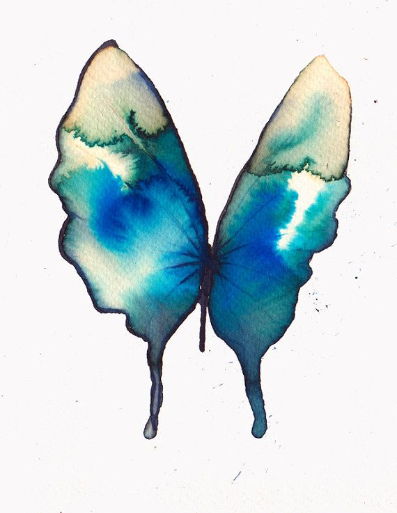 Azure Turquoise And Ultramarine Blue And Gold Butterfly Original