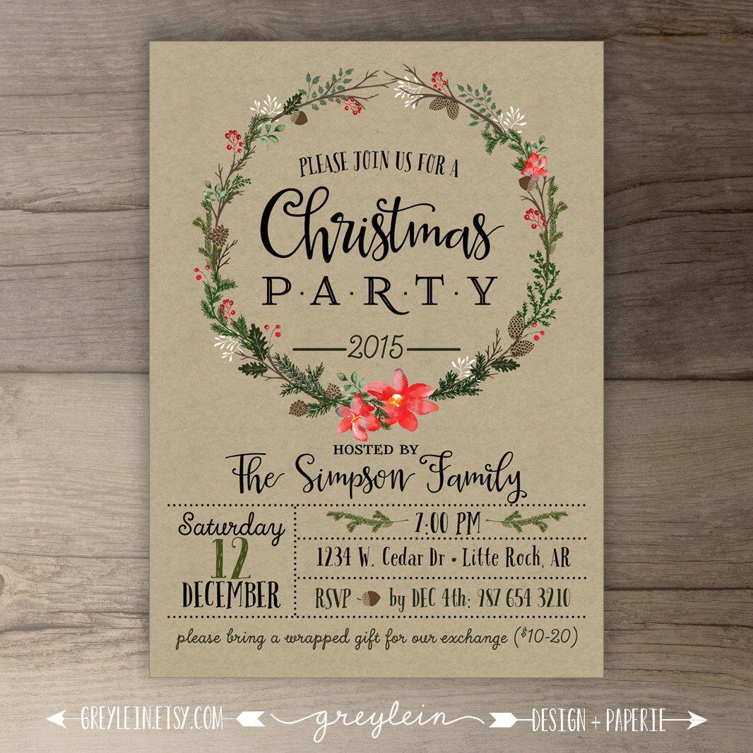 Christmas Party Invitations • Wreath • Kraft • Custom Holiday ...