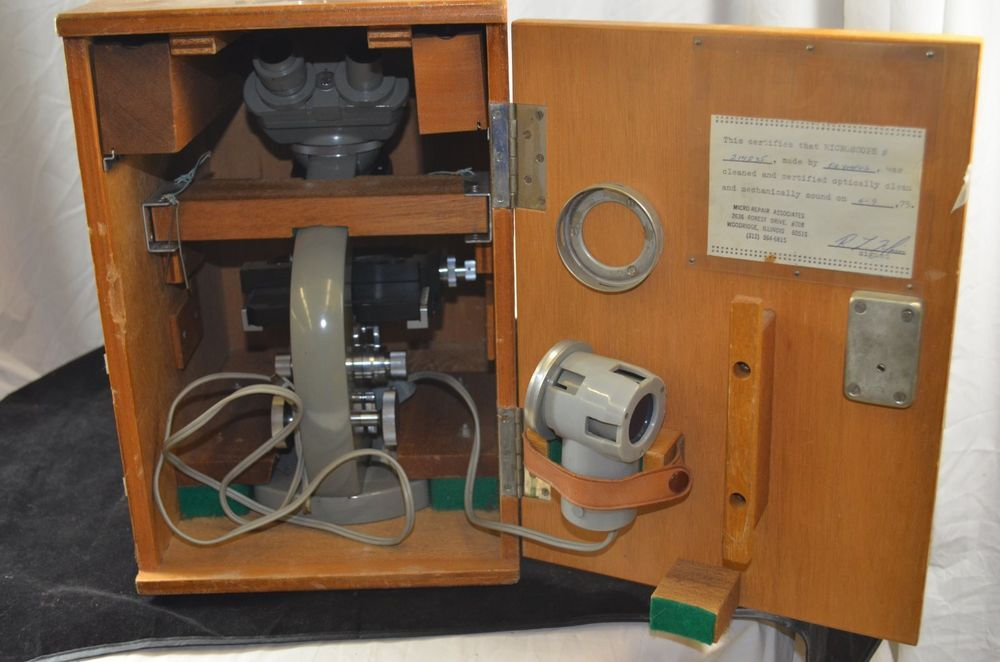 Olympus Elgeet Vintage Microscope and Accessories in Wooden Case