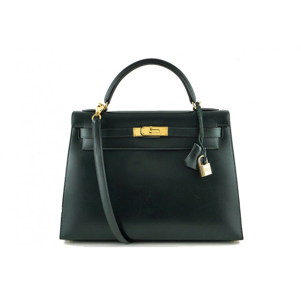 ed198c74501 Hermes Vert Fonce 32cm Box Calf Kelly Sellier. Dark Green Kelly with gold  plated hardware.