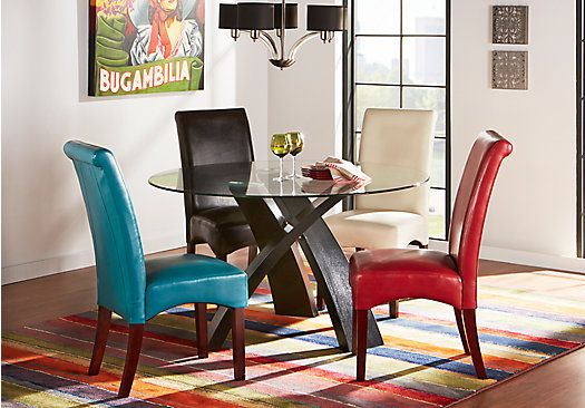 Del Mar Ebony 5 Pc Round Dining Set With Red Chairs . $588.00. Find  Affordable Dining Room Sets For Your Home That Will Complement The Rest Of  Your ...