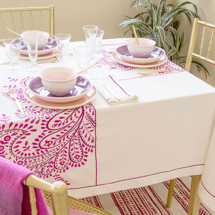 Paisley Embroidered Linen Tablecloth