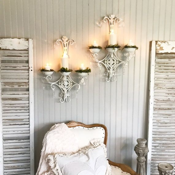 Crystal Wall Candle Holder Sconces Shabby Chic Set Of Two