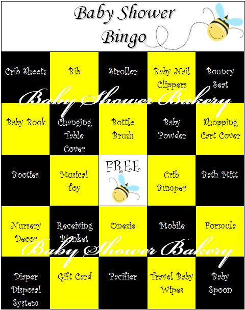Bee Theme Baby Shower Bingo Bumble Bee Baby By BabyShowerBakery