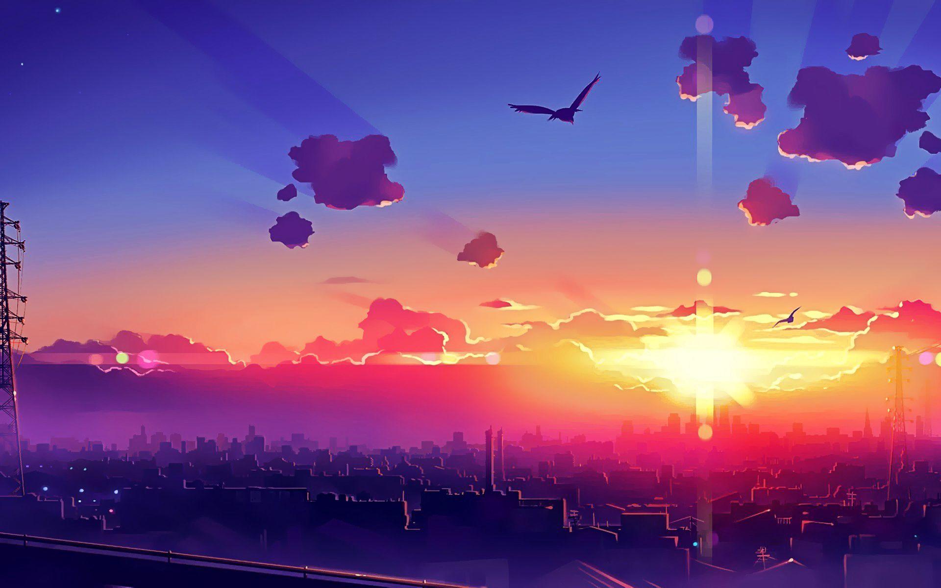 Anime City Sunset Wallpaper Wallpaper trong 2019 Phong