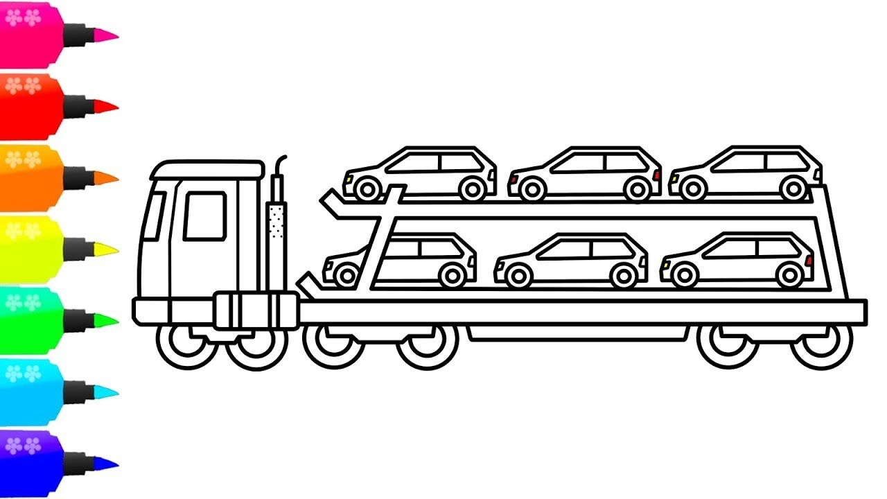 How To Draw A Car Carrier For Kids Transport Truck Coloring Page