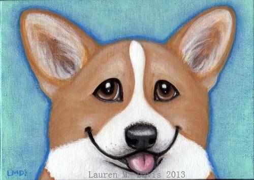Pembroke Welsh Corgi Dog 5x7in Puppy Fun Cute Folk Original Painting LAUREN M. DAVIS ART