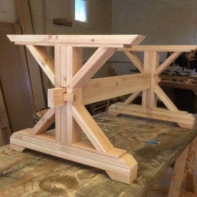Farmhouse Trestle Table DIY Kit  Made to Order | Etsy