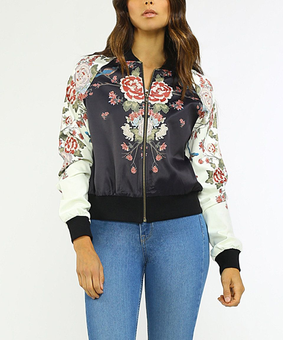 Take a look at this Black & Pink Floral Zip-Up Bomber Jacket today!