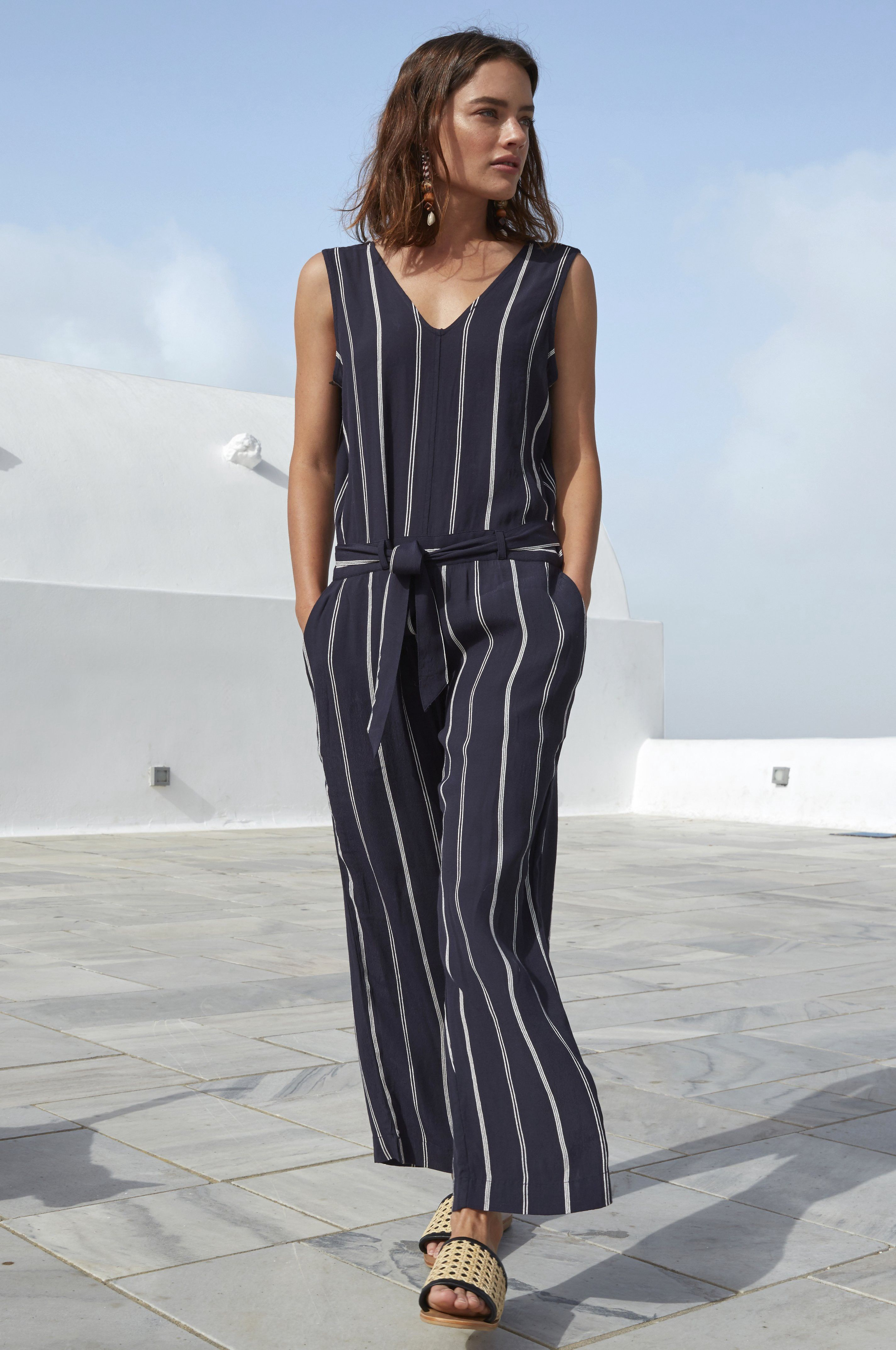a77f780a4ff ... sleeveless V-neck jumpsuit with belted waist and front pockets. Rails  Pre-Order Hallie - Granada Stripe XS