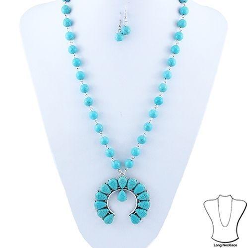 "New Squash Blossom Long 32"" Necklace Turquoise Southwestern + Dangle Earrings #SP #SquashBlossom"