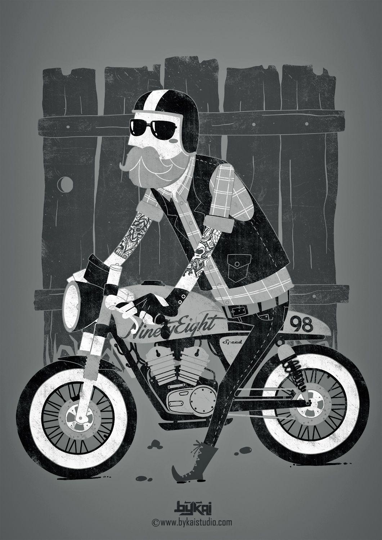 Design by Bykai Studio #illustration #design #motorcycles #motos   caferacerpasion.com