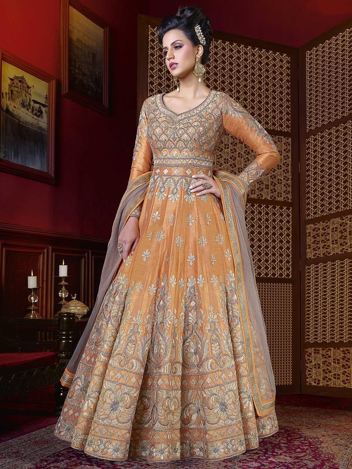 Amazing orange and grey raw silk party wear designer anarkali suit