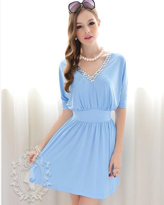 Vestido Azul Cielo manga al codo cuello V adornado  4ea7b5f17448