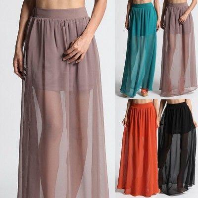 MOGAN High Waisted SHEER MAXI LONG SKIRT Chiffon Layered Mini Skirt Lining Inset | eBay