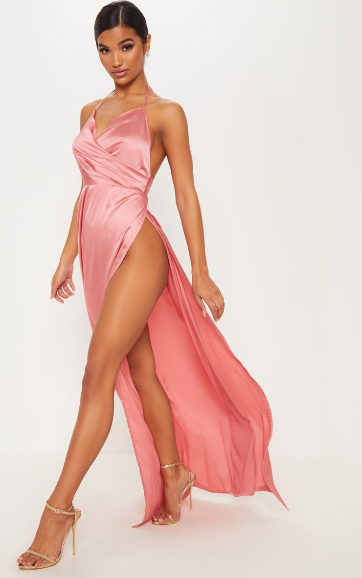 8d99e31a268 Lucie Champagne Silky Plunge Extreme Split Maxi Dress in 2019