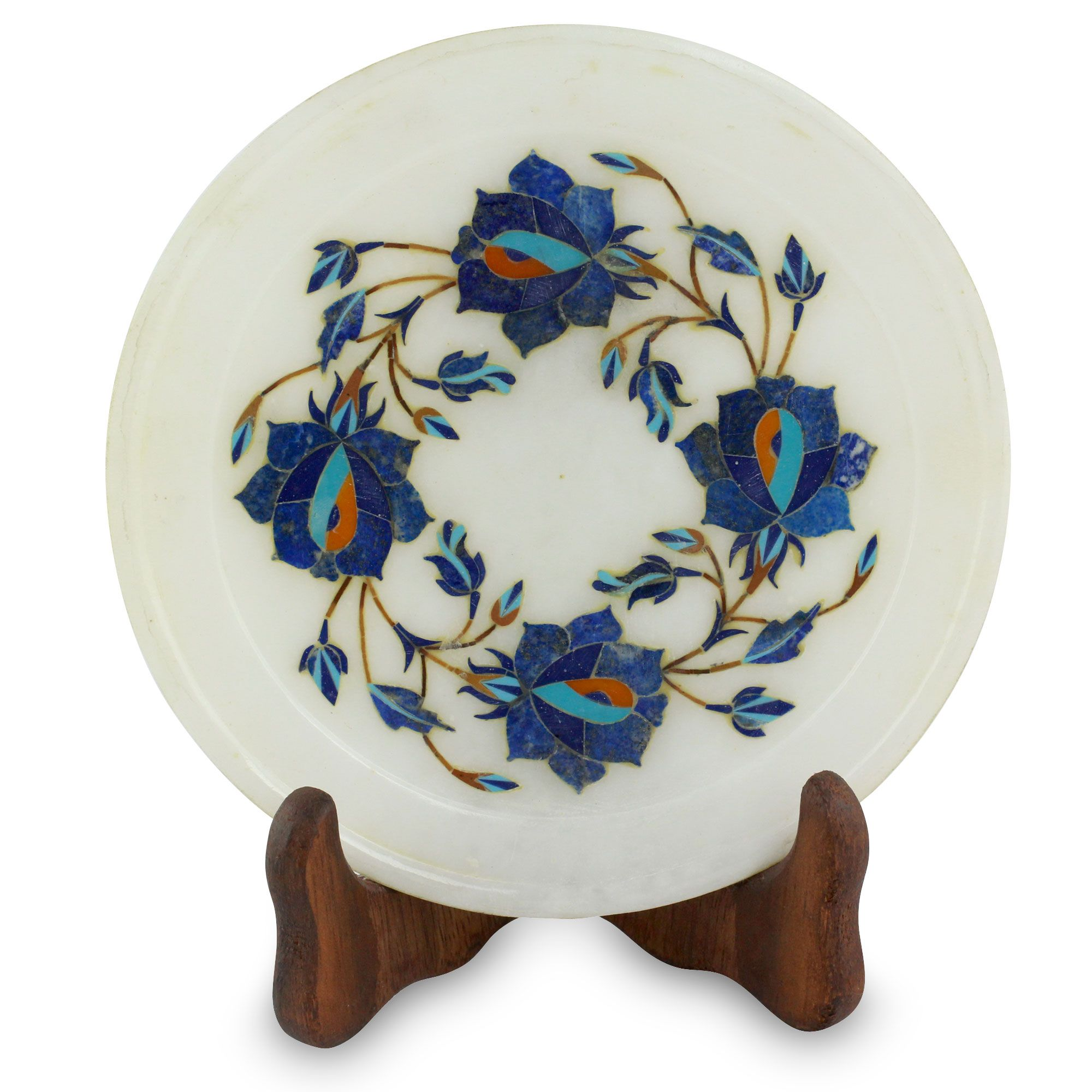 Artisan Crafted Inlaid Marble Decorative Plate - Blue Garland | NOVICA