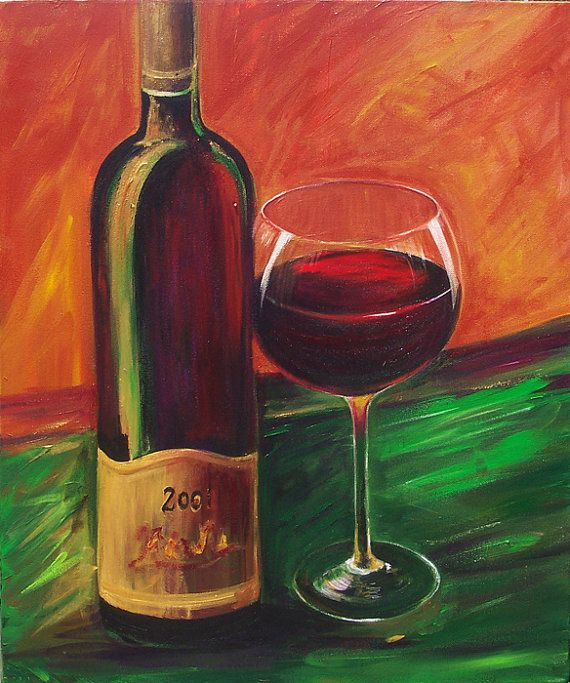 f563c7291 Wine bottle and wine glass canvas print size 16x20 made from my original  acrylic painting with warm colors of orange and green background  Painting    ...