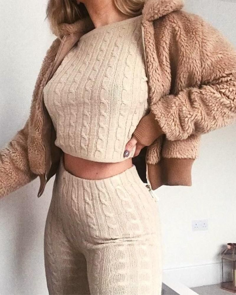 ivrose / Solid Zip Front Teddy Coat