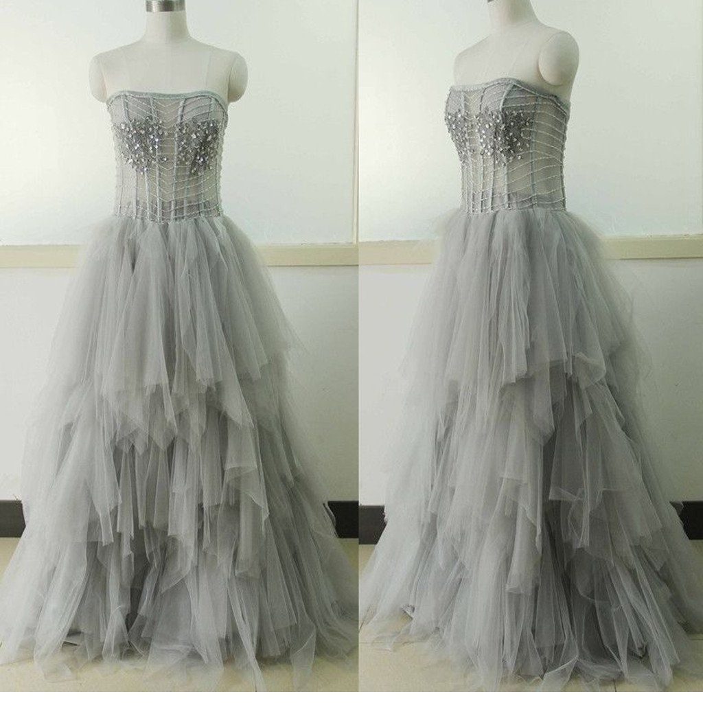 Light gray strapless unique vintage formal ball gown prom dresses
