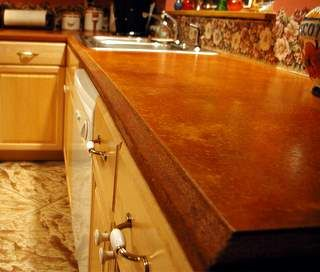 stained concrete counters