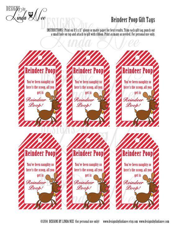 Reindeer Poop Brights - Gift Tag Label - Printable - Party Package
