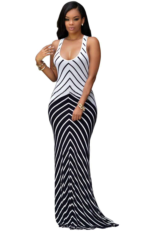 Chicloth white black stripes maxi dress simple pinterest