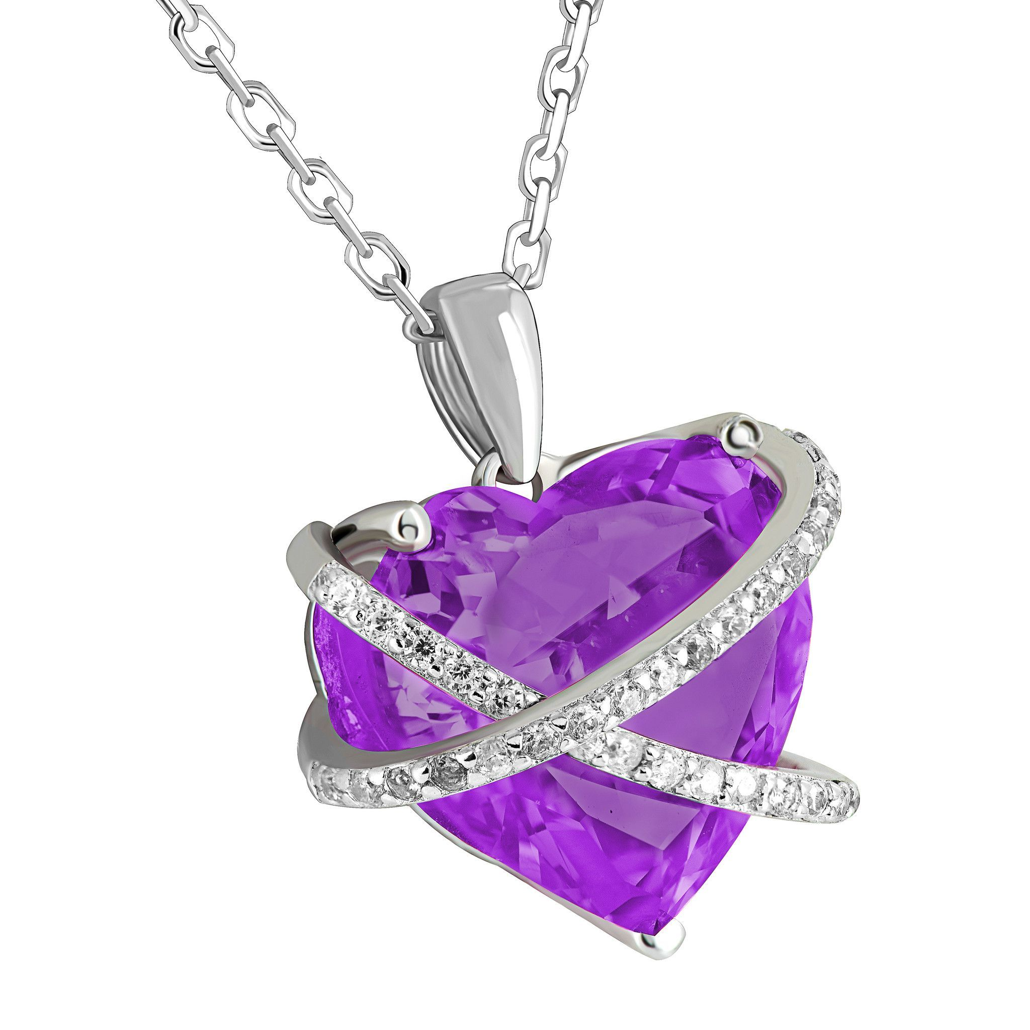 Feb birthstone ladies real silver amethyst simulated diamond heart