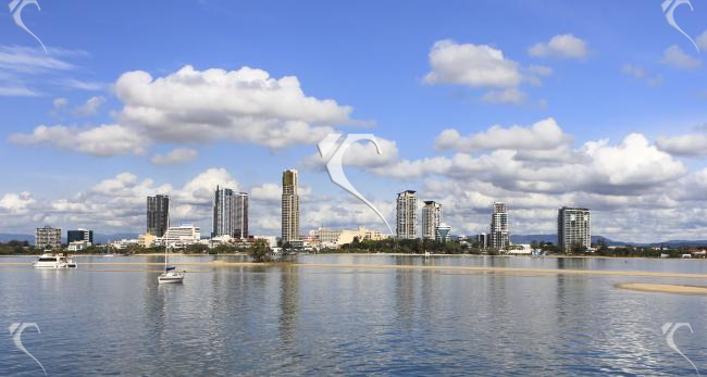 A view of the city from Seaworld. Gold Coast, Australia