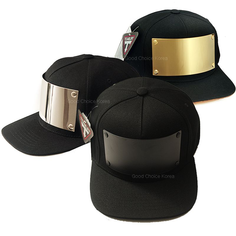 New Simple Metal Plate Snapback Hiphop Running Hat Man Unique Street ... bbcbd3cd369d