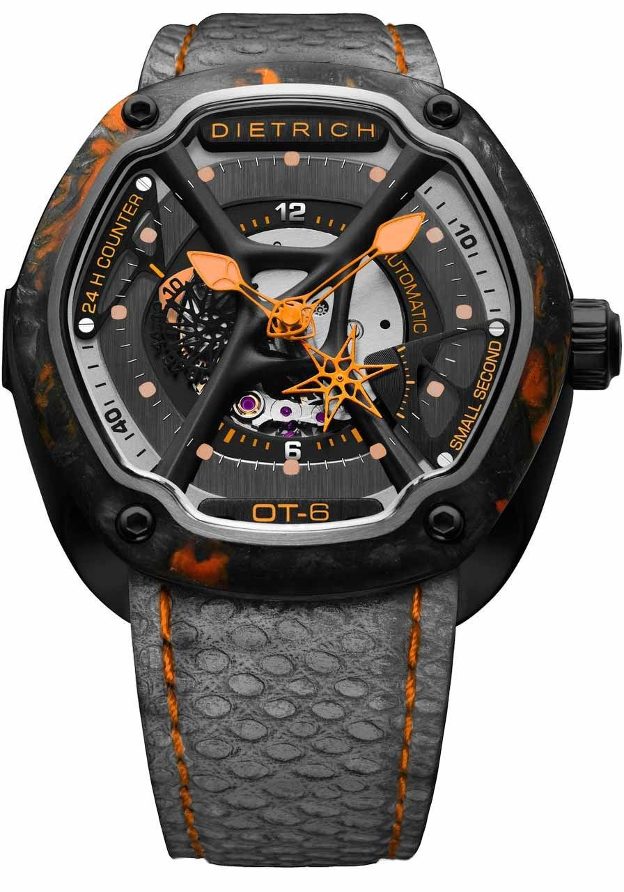Dietrich Ot 6 Naranja Forjado Carbono Bisel Naranja Watches Com Reloj Reloj Suizo
