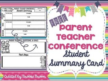 FREE Parent Teacher Conference Student Summary Card