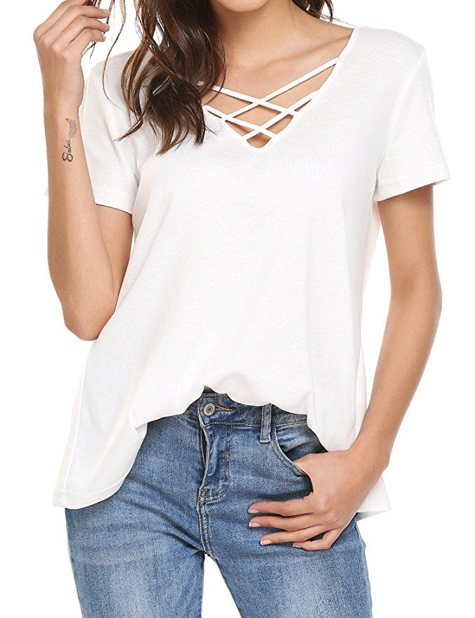 d8365a69 PLUS SIZE Women's Casual Short Sleeve Solid Criss Cross Front V-Neck T-Shirt  Top in White. Several color options to choose from!
