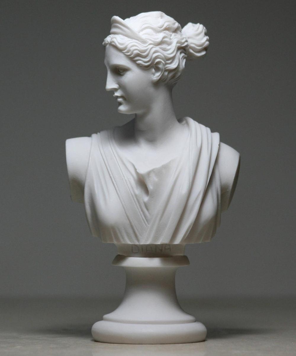 Greek Bust Of Artemis Diana Goddess Art Statue Alabaster Etsy In 2020 Goddess Art Statue Artemis