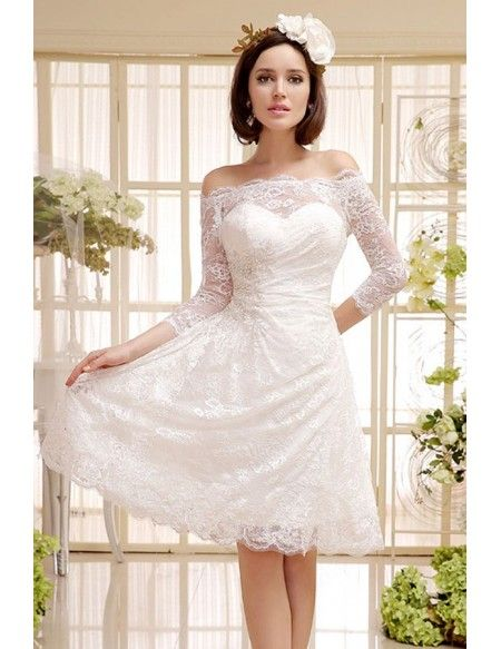 A Line Off The Shoulder Lace Short Wedding Dress With Half Sleeves Short Wedding Dress Simple Wedding Dress Short Short Ivory Wedding Dress