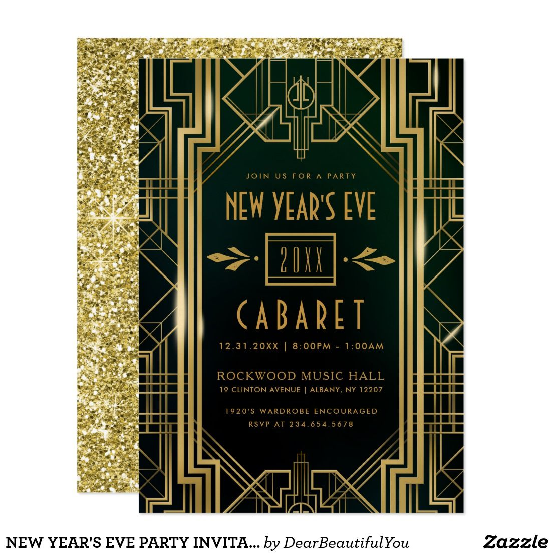 NEW YEAR'S EVE PARTY INVITATION | 1920's Cabaret | Zazzle.com | New years  eve party, New years eve, Eve parties