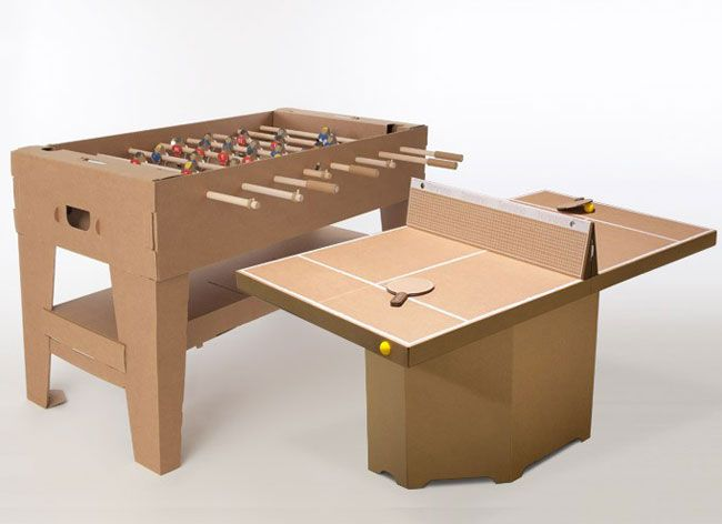 the eco friendly cardboard foosball table by kickpack l. Black Bedroom Furniture Sets. Home Design Ideas