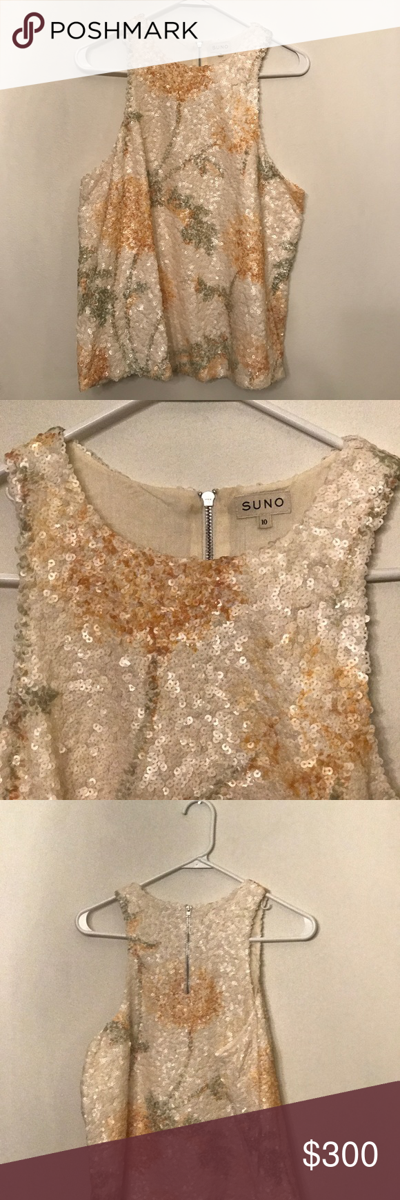 SUNO matte sequin A line top Matte sequin a lone top with blurred ...