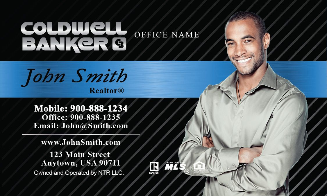 Silver Coldwell Banker Logo Business Card Template With Realtor