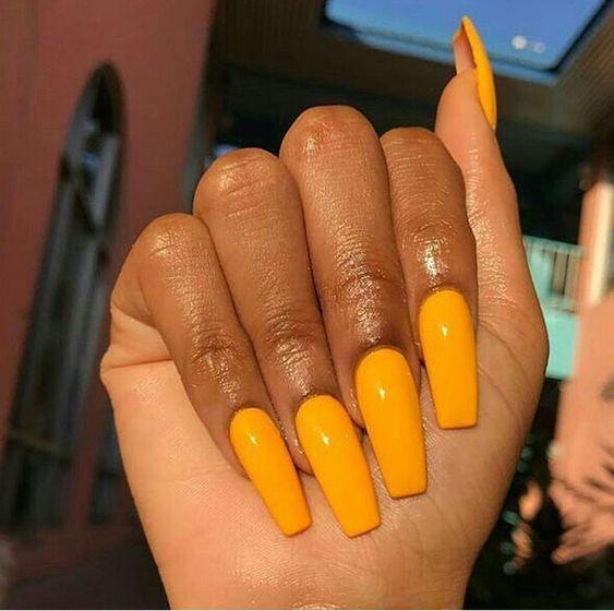 coffin acrylic summer nail design
