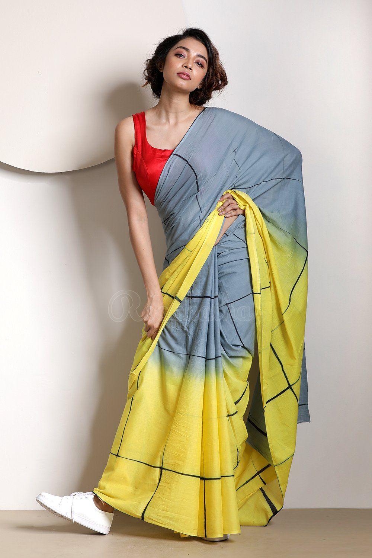 59e8e50bb9 Steel Grey and Yellow Tie-&-Dye Pure Cotton Saree | Saree in 2019 ...