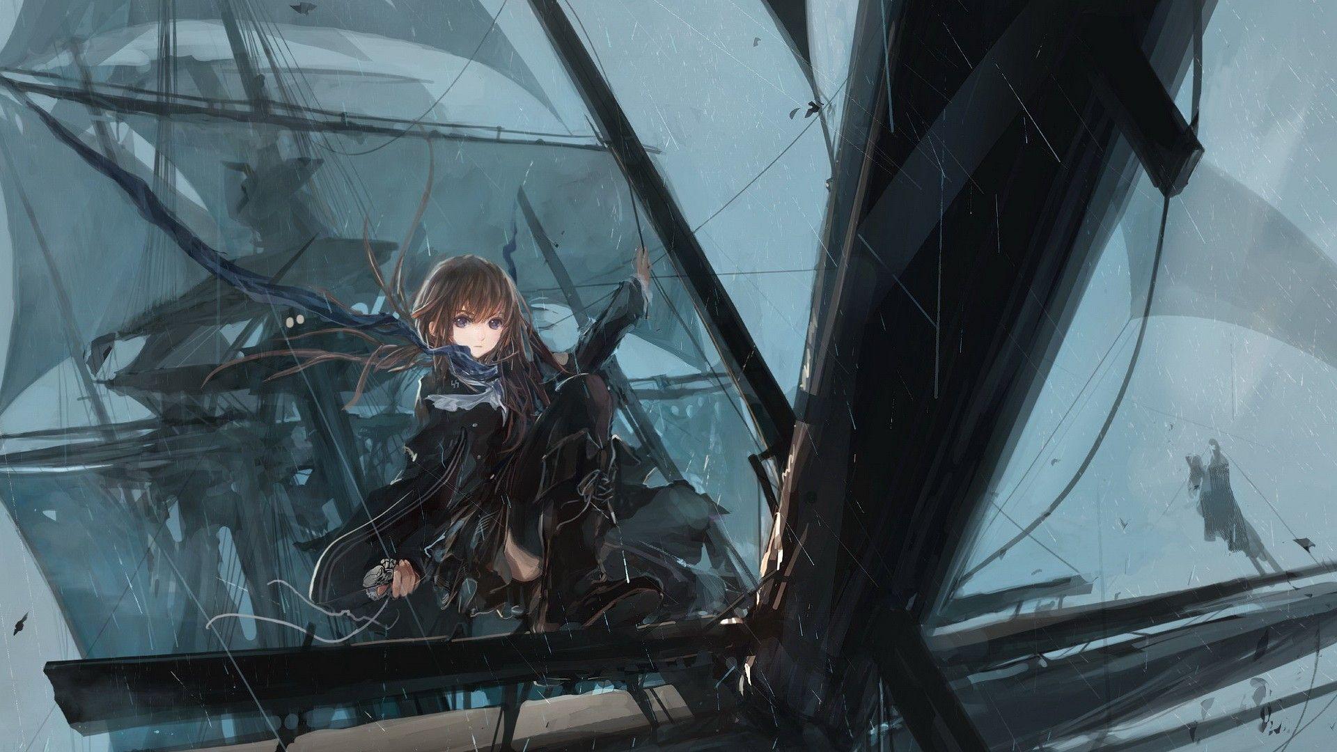 1920x1080 Anime Rain Drawing HD Wallpaper