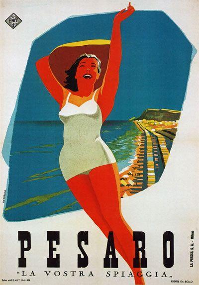 Vintage travel beach poster 1940's PESARO Italy Italian Riviera Adriatica | eBay #essenzsdiriviera www.varaldocosmetica.it