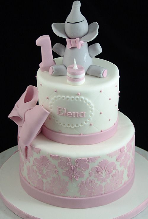 Elephant And Pink Stencil First Birthday Cake Cake Pinterest