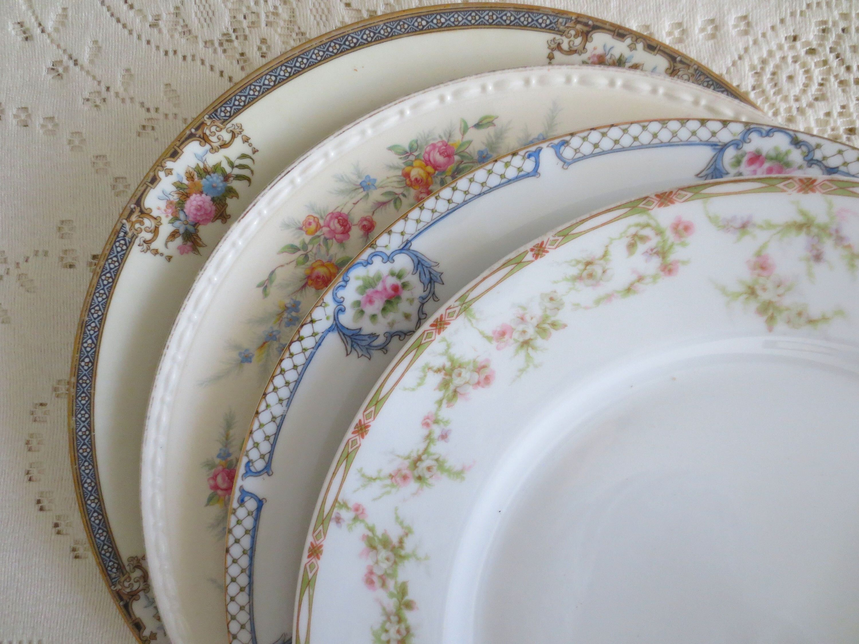 Set Of 4 Mismatched Dinner Plates Fl China Mix Match Shabby Chic Dishes Dinnerware Alice In Wonderland Tea Party By Dorothyandcleo