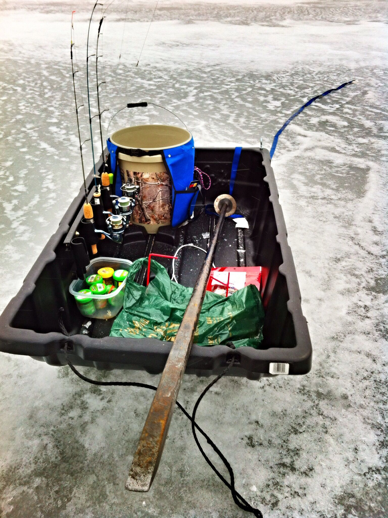 My ice fishing setup on Lake Zorinsky, Omaha | Fishing Gear